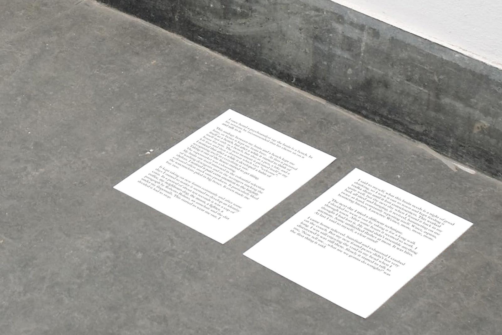 Untitled ('I once heard a psychoanalyst say...'), Martijn in 't Veld, 2011, laserprint on paper, skateboard
