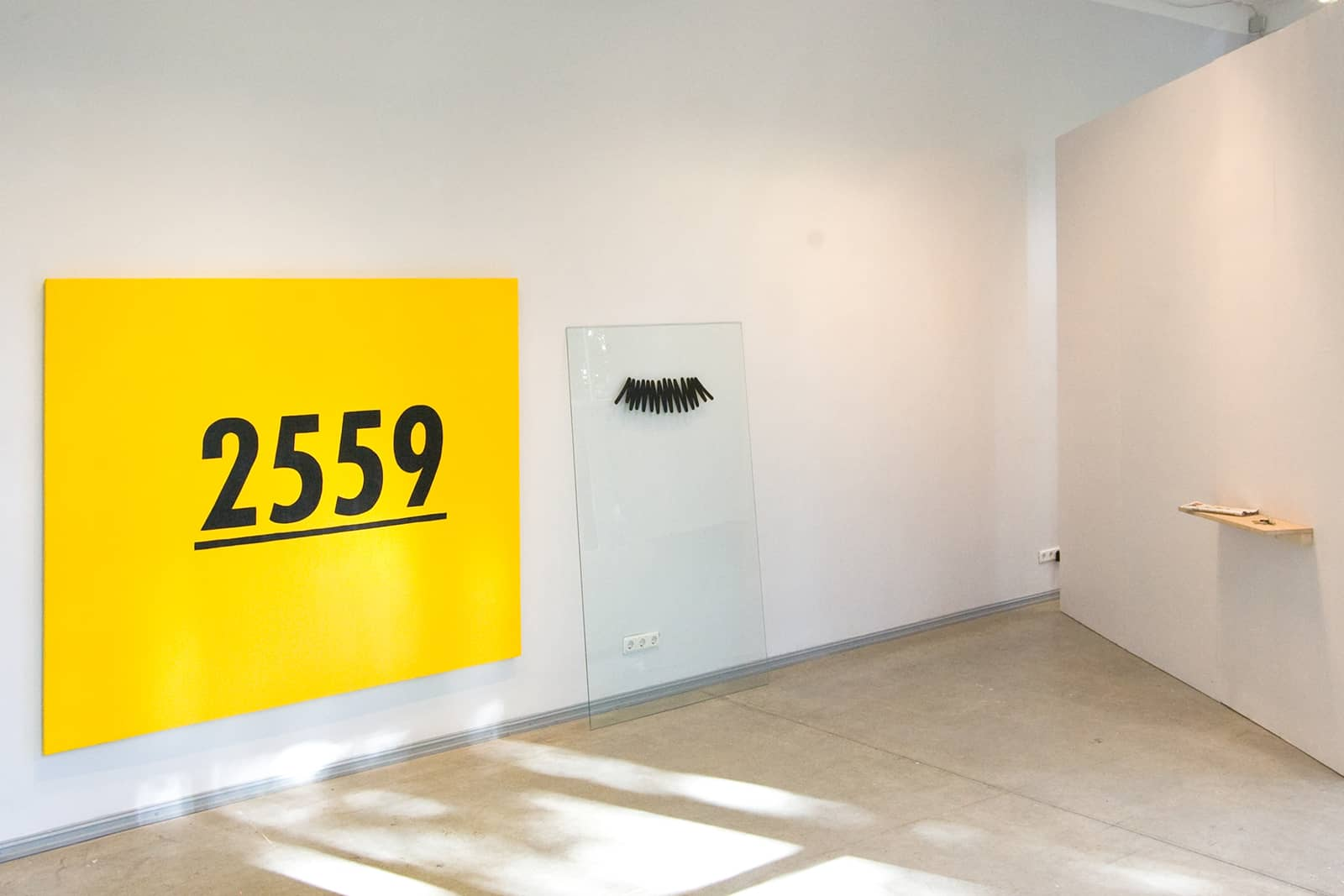 Exhibition overview with Received Number - Oil on canvas, 175 x 200cm, 2011 and Moustache Piece - Vinyl on glass, 2011
