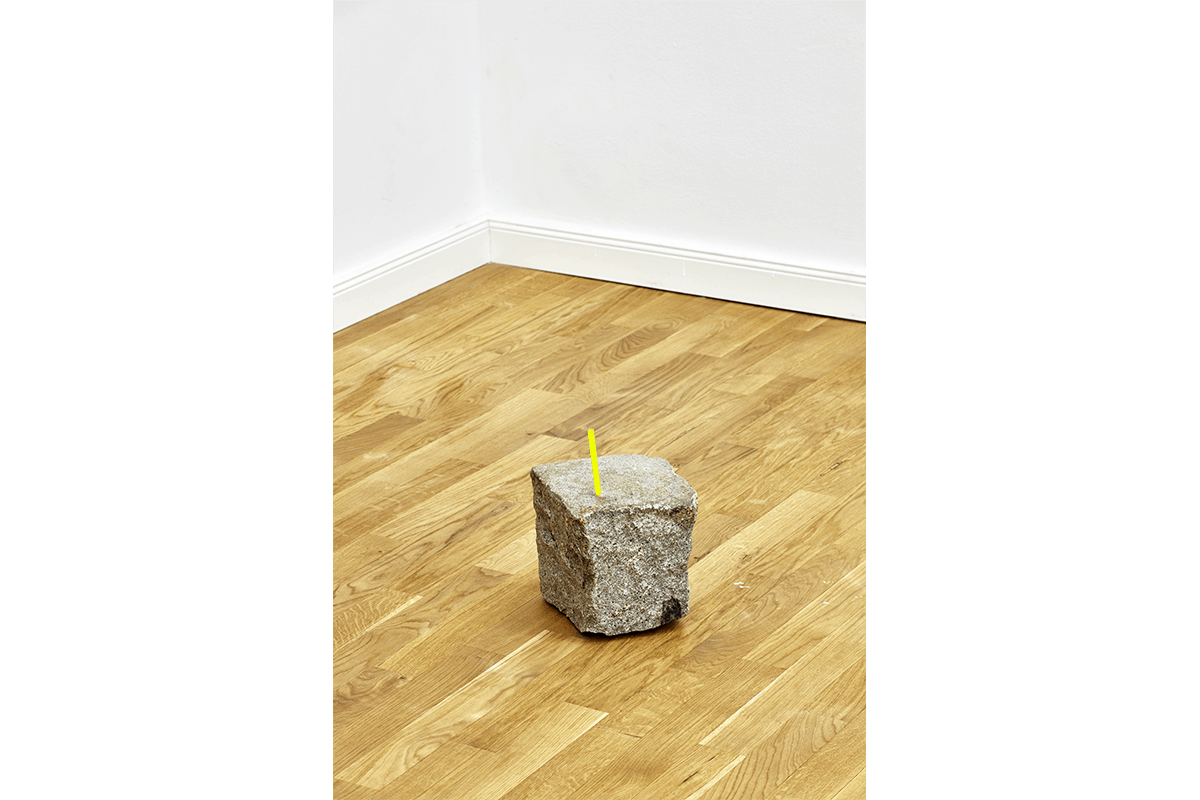 Untitled (stone), cobblestone, straw, dimensions variable, 2014